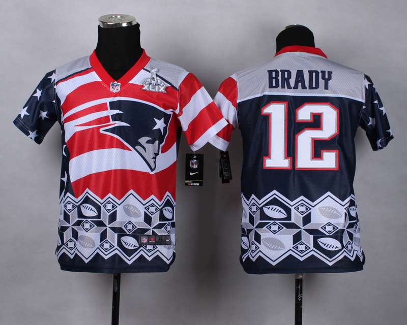 Nike Patriots 12 Brady Noble Fashion 2015 Super Bowl XLIX Youth Jerseys
