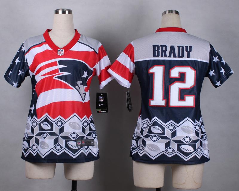 Nike Patriots 12 Brady Noble Fashion Women Jerseys