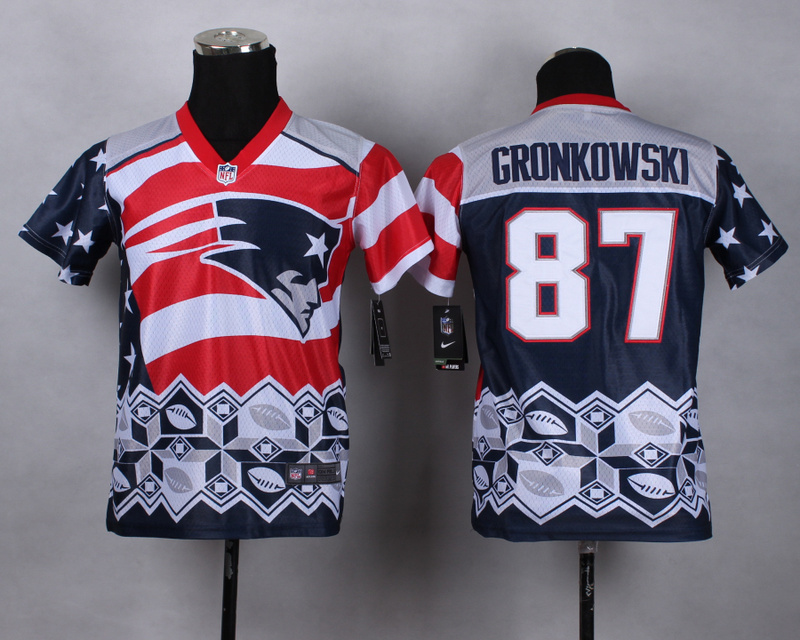 Nike Patriots 87 Gronkowski Noble Fashion Youth Jerseys