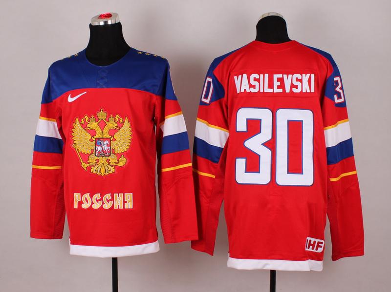 Russia 30 Vasilevski Red 2014 Olympics Jerseys