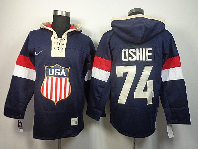 USA 74 Oshie Blue 2014 Olympics Hooded Jerseys