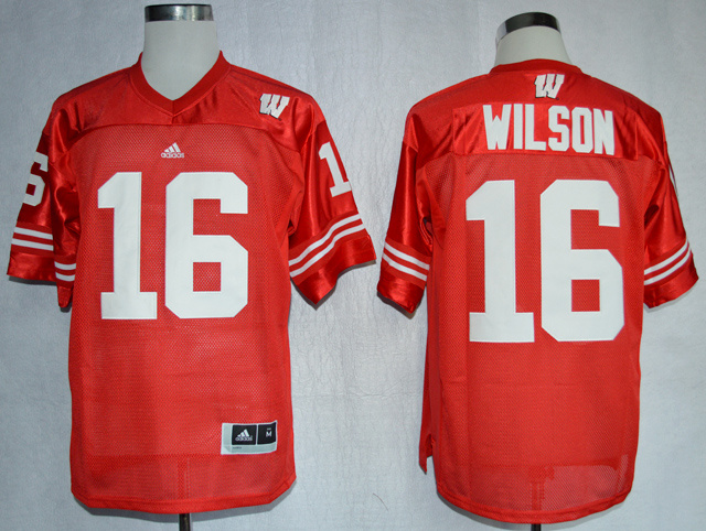 Wisconsin Badgers 16 Russell Wilson Red Jersey