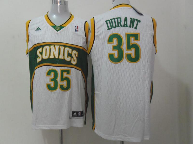 Sonics 35 Durant White Throwback Jerseys