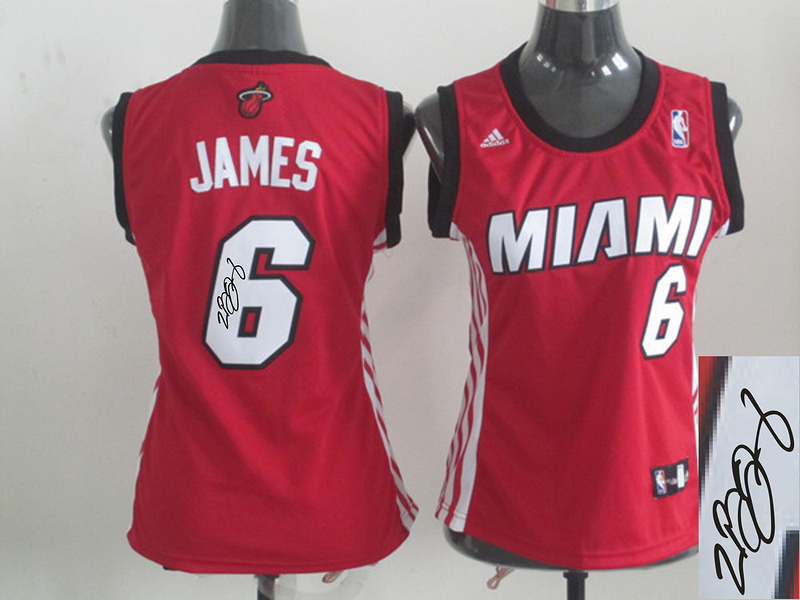 Heat 6 James Red Signature Edition Women Jerseys