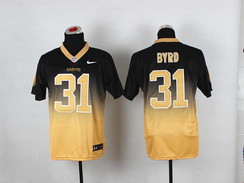 Nike Saints 31 Byrd Black And Gold Drift II Elite Jerseys