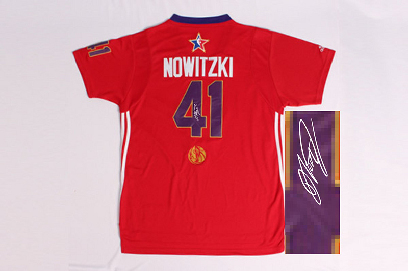 2014 All Star West 41 Nowitzki Red Signature Edition Jerseys
