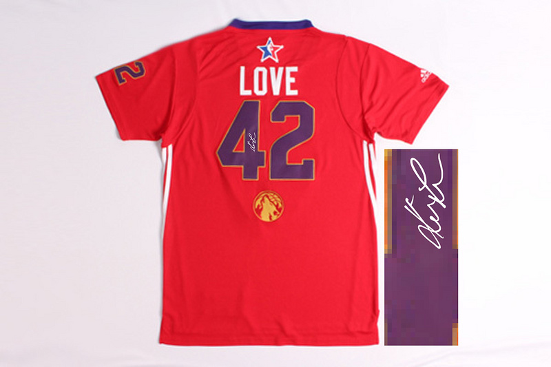 2014 All Star West 42 Love Red Signature Edition Jerseys