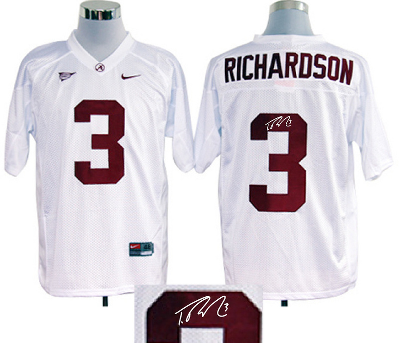 Alabama Crimson Tide 3 Richardson White Signature Edition Jerseys