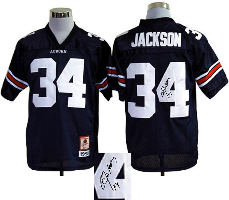 Auburn Tigers 34 Jackson Blue Signature Edition Jerseys