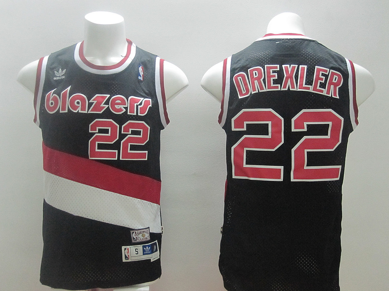 Blazers 22 Drexler Black Hardwood Classics Swingman Jerseys