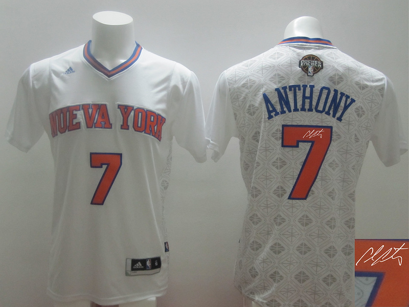 Knicks 7 Anthony White 2014 Latin Nights Signature Edition Jerseys