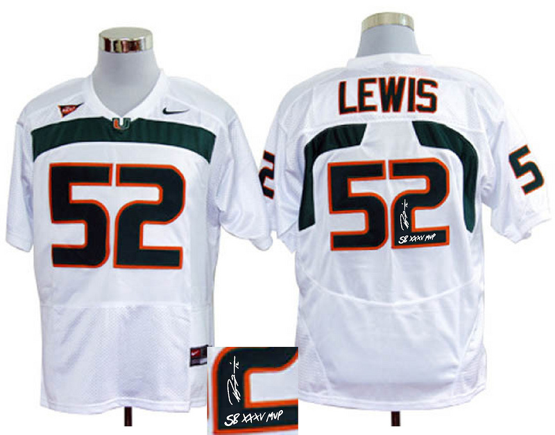 Miami Hurricanes 52 Lewis White Signature Edition Jerseys