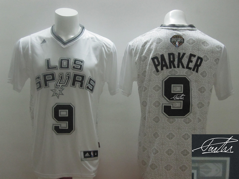 Spurs 9 Parker White 2014 Latin Nights Signature Edition Jerseys
