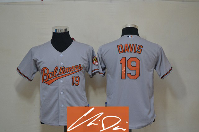 Orioles 19 Davis Grey Signature Edition Youth Jerseys