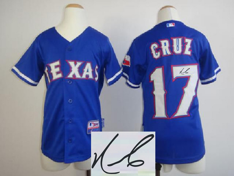 Rangers 17 Cruz Blue Signature Edition Youth Jerseys