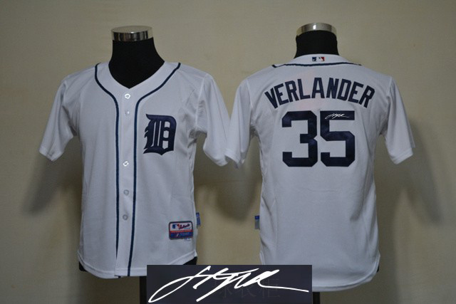 Tigers 35 Verlander White Signature Edition Youth Jerseys