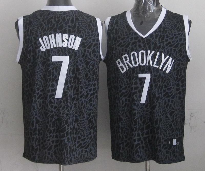Nets 7 Johnson Black Crazy Light Swingman Jerseys
