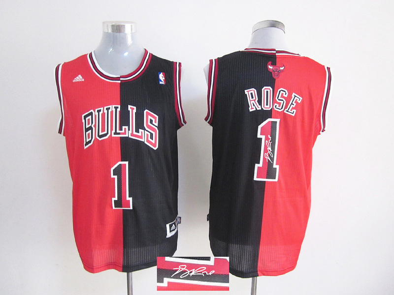 Bulls 1 Rose Red & Black Split Signature Edition Jerseys