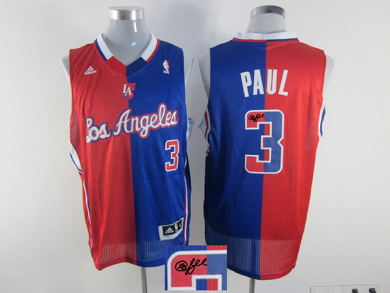 Clippers 3 Paul Red & Blue Split Signature Edition Jerseys