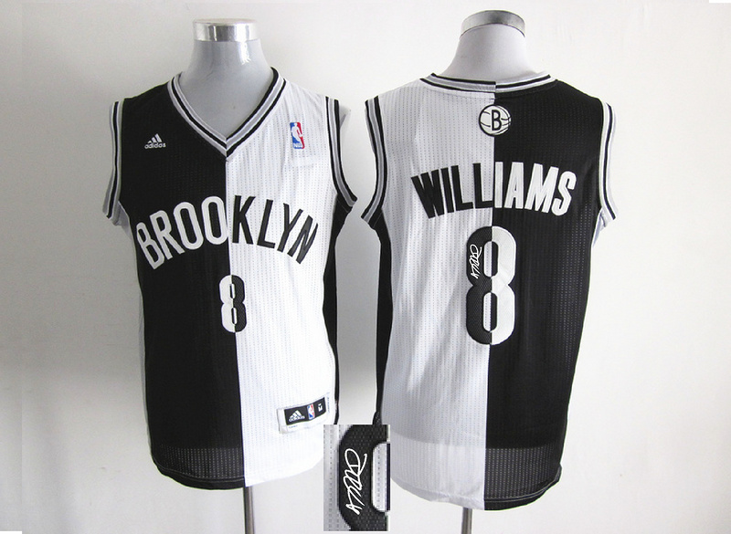 Nets 8 Williams White & Black Split Signature Edition Jerseys