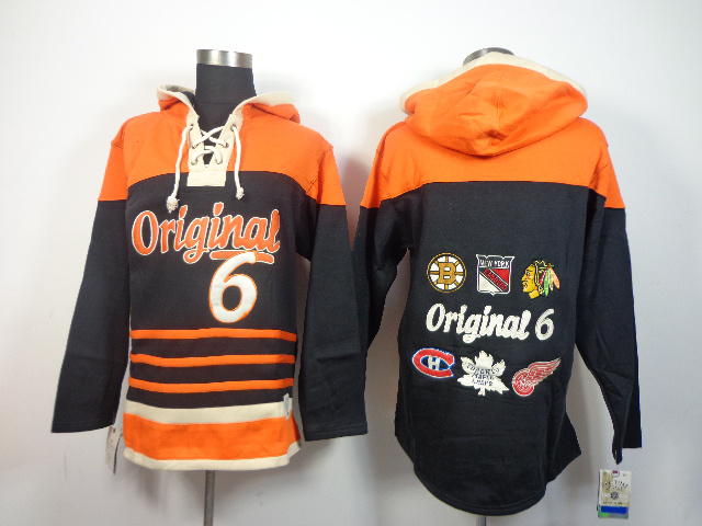 Original 6 Hockey Teams Black Hooded Jerseys